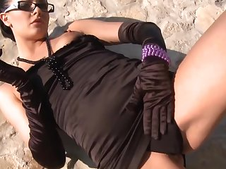 Euro gal in glasses and gloves is a grotty cocksucker