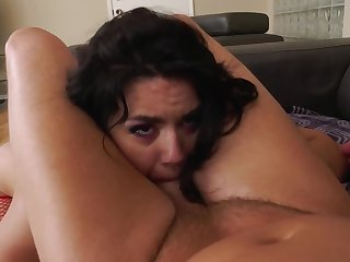 Latina grumble in red fishnets never refuses anal cock riding