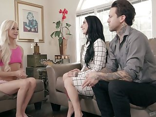 Taking hot blondie Elsa Jean gets intimate with Joanna Angel increased by her retrench