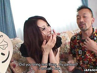 Morose Japanese babe feeding and riding her visitor