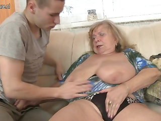 Old busty grandma fucked hard by young boy