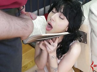 Submissive pale harlot has to suck some strong howler cocks be beneficial to semen