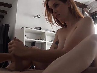 Young British redhead tattooed sextape at home