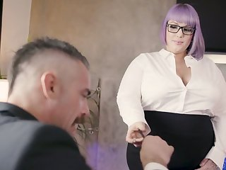 Ugly BBW secretary seduces and fucks their way handsome kingpin Charles Dera