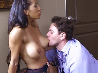 Brunette Babe with Glasses gets a Fat Cock during Ordinance Hours