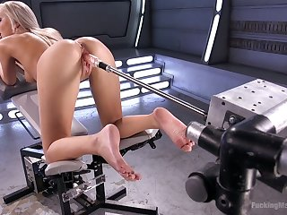 Blond wench Tiffany Watson shows off her drizzle pussy satisfied with dealings machine