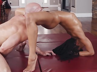 Strong calvous Johnny Sins increased by dark sports girl Kira Noir