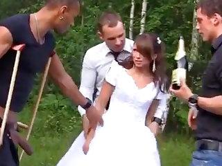 Sexy Bride in Foursome Gangbang