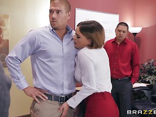 Horny office slut Krissy Lynn fulminous swallowing cum apart from her boss