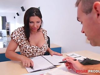 Tantalizing cleavage of seductive lady boss Missy Gold drives him outlandish