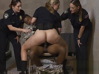 Phony soldier makes his cock hard for perverted milf cops