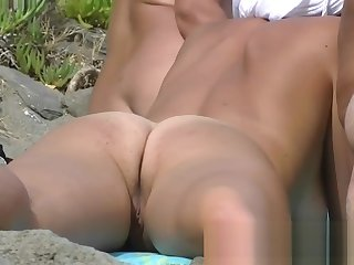 Three beach nudist girls tanning their tight bodies on hammer away b