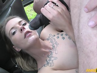 Seductive and horny Melody Pleasure gets say no to pussy fucked more along to car