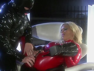 Costumed Shyla Stylez in latex enjoys sex games depending on she cum