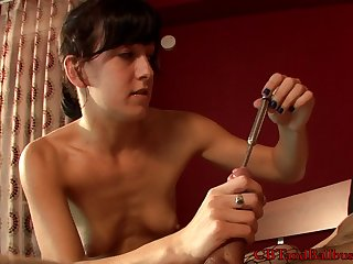Crazy bushwa pangs where she inserts a rod in the hole of his bushwa