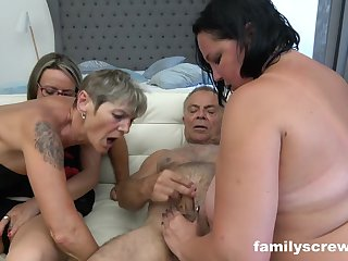 A gang of ultra-kinky grandmas and 2 edacious dudes are having gang fucky-fucky in the bedroom