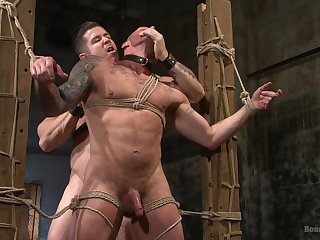 Extremist careless porn in bondage scenes for two bareback hunks