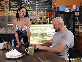 Busty brunette Anissa Kate spreads her legs to ride a fat cock