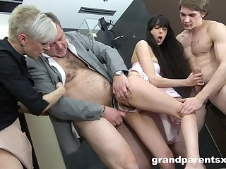 Foursome fucking with old coupled with young couple with cum on tits