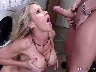 Blonde mature Simona Sonay with beamy fake tits gets cum in indiscretion