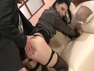 Black Stockings Secretary ANNA KING Hard Fucking