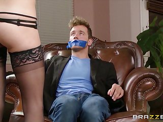 Horny wife Dillion Carter ties up her neighbor and seduces him