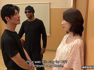 Asian milf Aya Kisaki gets intimate alongside one young dude and gets her pussy creampied