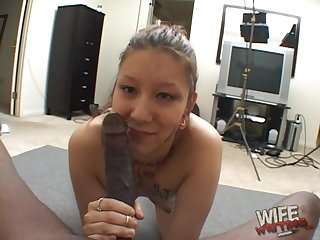 BBC fucks deep throat and wet cunt of one whorish white wife
