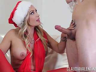 Claudia Valentine is wearing erotic, Christmas outfit while having steamy sex with her new lover