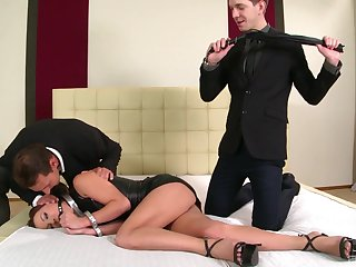 Submissive Alysa Gap gets brutally fucked at the end of one's tether two guys and loves it