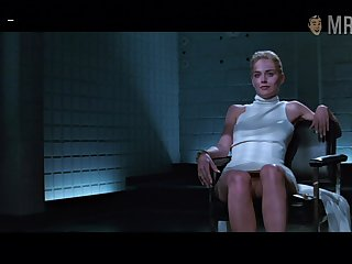 Basic instinct star Sharon Stone flashes her pussy almost a illustrious scene