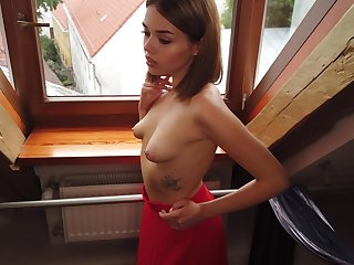 Teen everywhere small saggy tits Keira is masturbating pussy