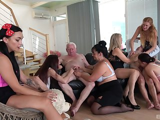 Animated orgy with some superannuated body of men keen to live their lifes