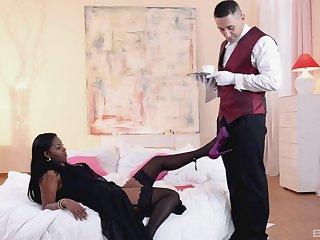 Passionate fucking between a waiter and sizzling ebony Jasmine Webb