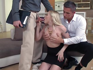 Blondie gets her pink holes enlarged in a rough threesome tryout