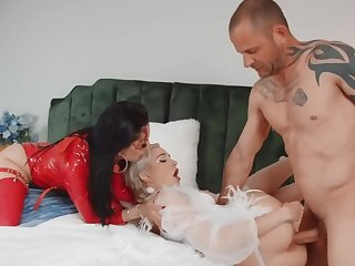 Hot angel and devil don't be on one's guard sharing one throb prick