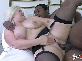 Interracial intercourse far hardcore fuck of horny mature blonde and huge black cock