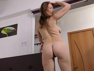 Closeup video of pretty Solena pleasuring say no to wet lady-love hole