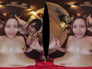 POV VR threesome hardcore with Japanese babes - Big humble tits
